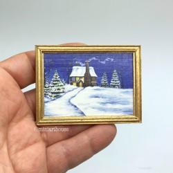 Постер, Зимняя сказка, кукольная миниатюра 1:12