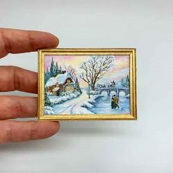 Живопись Зимний пейзаж. Акварель, Миниатюра 1:12