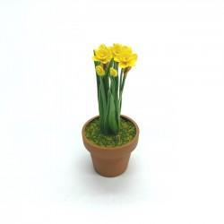 Нарциссы желтые в горшке, масштаб 1:12