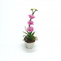 Орхидея розовая в горшке, миниатюра 1:12