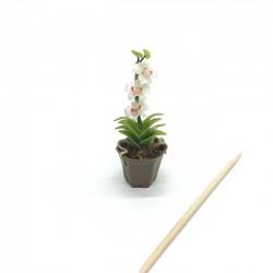 Орхидея белая в горшке, масштаб 1:12