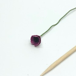 Мак пурпурный, кукольная миниатюра 1:12