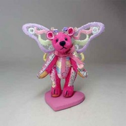 Мишка Бабочка Pink, брошка
