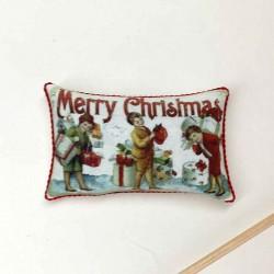Подушечка Рождество, Дети с подарками, миниатюра 1:12