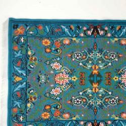 Ковер, голубой с орнаментом, кукольная миниатюра 1:12