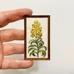 Картина Желтые цветы, Ботаника, вышивка, миниатюра 1:12