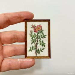 Картина Чайные розы, Ботаника, вышивка, миниатюра 1:12
