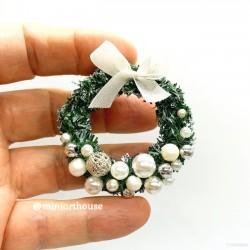 Венок Рождественский, Белый, миниатюра 1:12