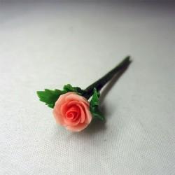 Роза коралловая с листьями, миниатюра, масштаб 1:12