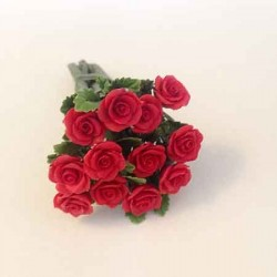 Роза красная с листьями, кукольная миниатюра 1:12