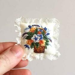 Подушечка Корзина цветов, ручная вышивка 1:12