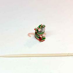 Мышка в праздничной ленте, кукольная миниатюра 1:12
