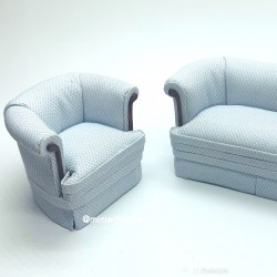 Кресло мягкое, голубое, миниатюра 1:12
