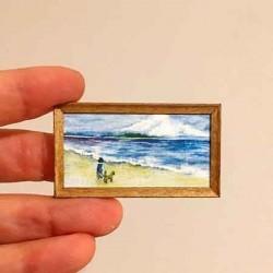 Прогулка у моря, мальчик с собачкой, постер, миниатюра
