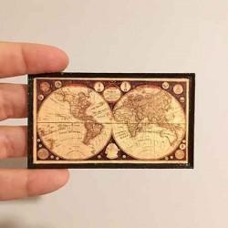 Карта мира, постер, кукольная миниатюра 1:12