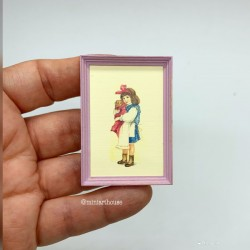 Девочка с бантом с щенком на руках, постер, миниатюра 1:12