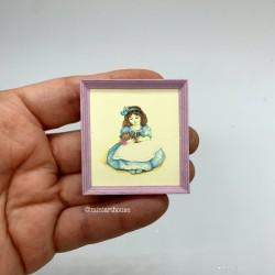 Девочка в голубом платье с мишкой, постер, миниатюра