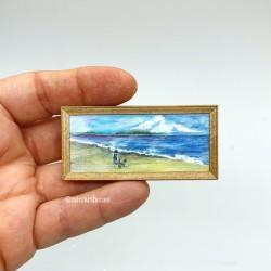 Прогулка у моря, мальчик с собачкой, постер, миниатюра 1:12