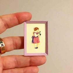 Девочка в сарафане с щенком, постер, миниатюра