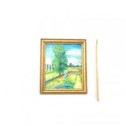 Прогулка в поле, постер, кукольная миниатюра  1:12