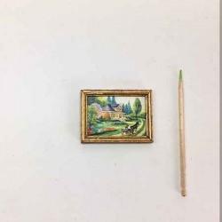 Пейзаж с домом, постер, кукольная миниатюра