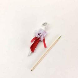 Зонтик красный, кукольная миниатюра 1:12