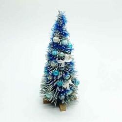 Новогодняя елочка, бирюзовая, кукольная миниатюра 1:12