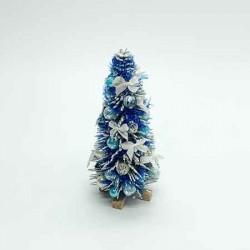 Новогодняя елка в голубых тонах, кукольная миниатюра 1:12