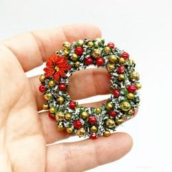 Рождественский венок, красный с золотом, кукольная миниатюра 1:12