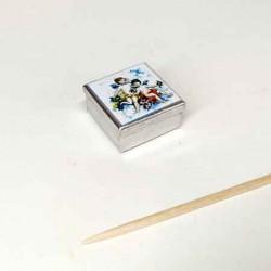 """Жестяная коробочка """"Ангелочки"""",  квадратная, кукольная миниатюра 1:12"""
