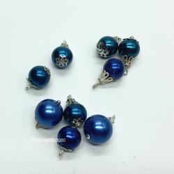 Набор шаров для елки, синие, миниатюра 1:12
