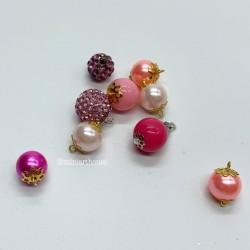 Набор шаров для елки, розовые тона, миниатюра 1:12