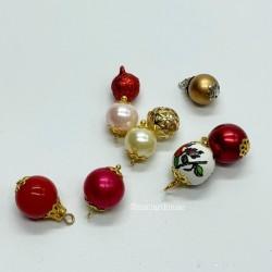Набор шаров для елки, красные тона, миниатюра 1:12