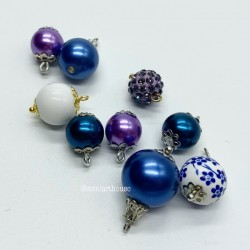 Набор шаров для елки, синие тона, миниатюра 1:12