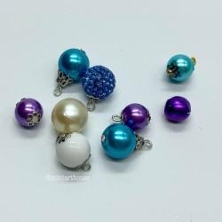 Набор шаров для елки, в синих тонах, миниатюра 1:12