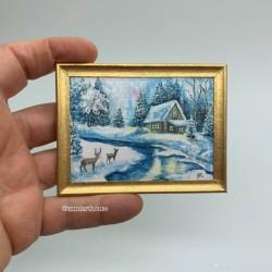 Постер, Зимний пейзаж, кукольная миниатюра 1:12