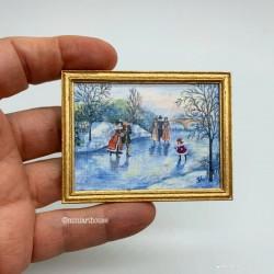 Постер На катке, кукольная миниатюра 1:12