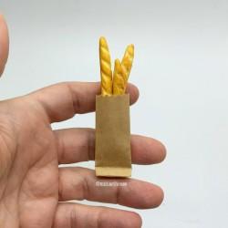 Багеты в бумажном пакете, миниатюра 1:12