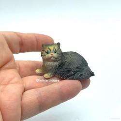 Кот темно серый, кукольная миниатюра 1:12