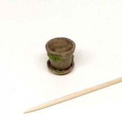 Горшочек старый для цветов с поддоном, кукольная миниатюра 1:12