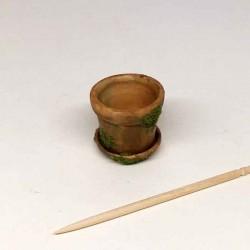 Горшок старый для цветов с поддоном, кукольная миниатюра 1:12