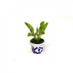 Зеленое растение в расписном горшке, миниатюра 1:12