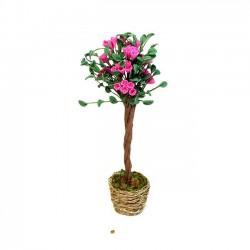 Декоративное цветущее дерево в плетеной корзине, миниатюра 1:12