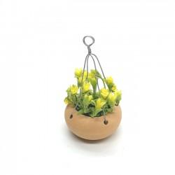 Желтые цветы в горшке подвесные, масштаб 1:12