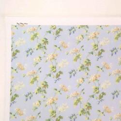 Ткань Цветы на голубом фоне, миниатюра 1:12