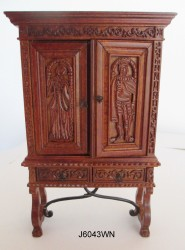 Шкаф 1450- 1480 Sacristy Cupboard -walnut,  масштаб 1:12