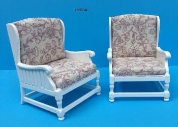 Кресло белое Arm Chair-white, масштаб 1:12