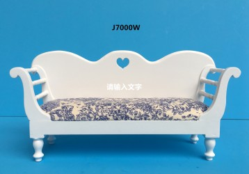 Канапе Vintage Country French Bench-white миниатюра 1:12