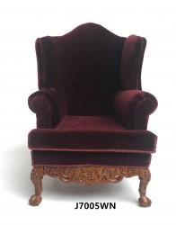 Кресло Georgian 19 C Wing Chair-walnut, кукольная миниатюра 1:12