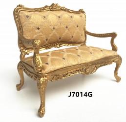 Диван Louis XV Rococo Style Parisian Parlor Settee 1840-1865-Gold, миниатюра 1:12